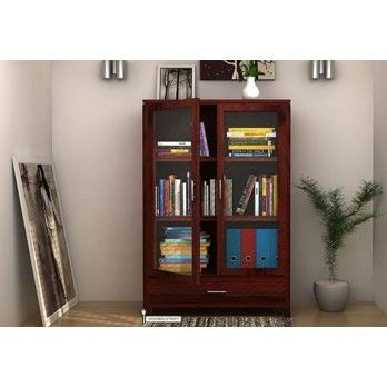 Shop Heimo Bookshelf Mahogany Finish Online In India At Wooden Street Choose From Wide Range Of Modern And Elegant Living Room Cabinets