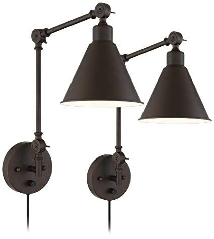 Wray Bronze Metal Plug In Wall Lamp Set Of 2 Swing Arm Wall Lamps Plug In Wall Lamp