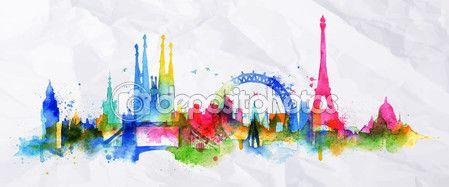 Cidade de sobreposição de silhueta Paris