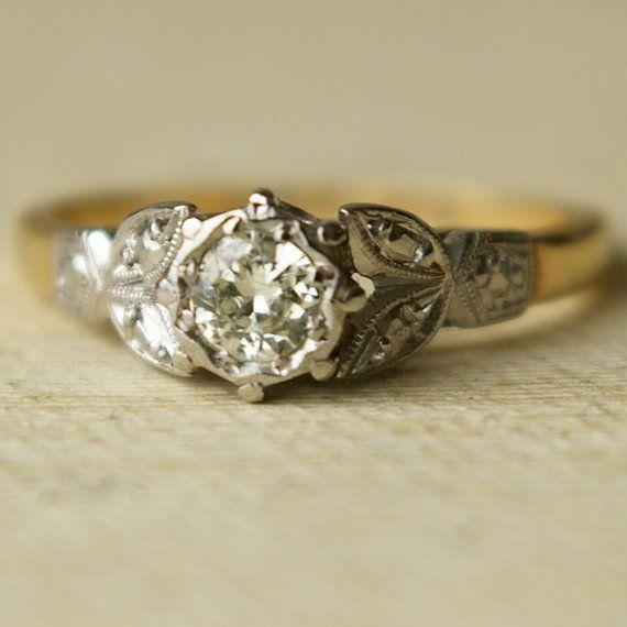 Vintage 20ct Diamond Wedding Ring Vintage 9k Gold Engagement Ring 1940 S I Am Antique Engagement Rings Diamond Wedding Rings Vintage Wedding Rings Vintage