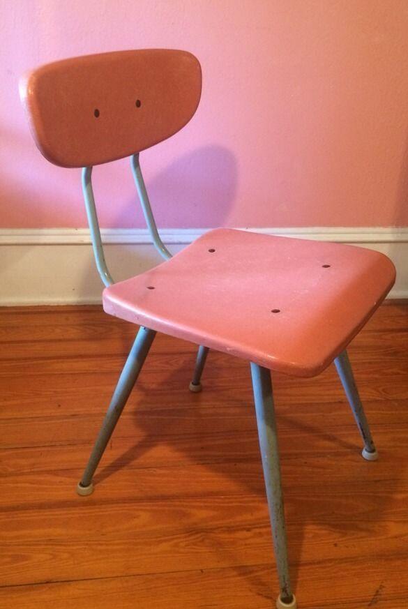 Vintage American Seating Co Pink Fiberglass Plastic & Metal School Chair  #MidCenturyModern #AmericanseatingCo - Vintage American Seating Co Pink Fiberglass Plastic & Metal School