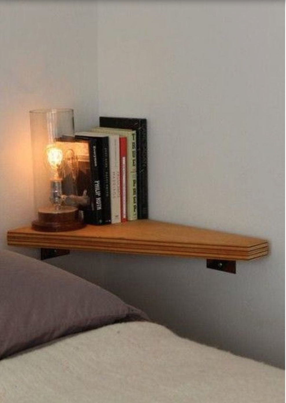 Bedside Corner Shelf Good For Small Rooms Tiny Apartment