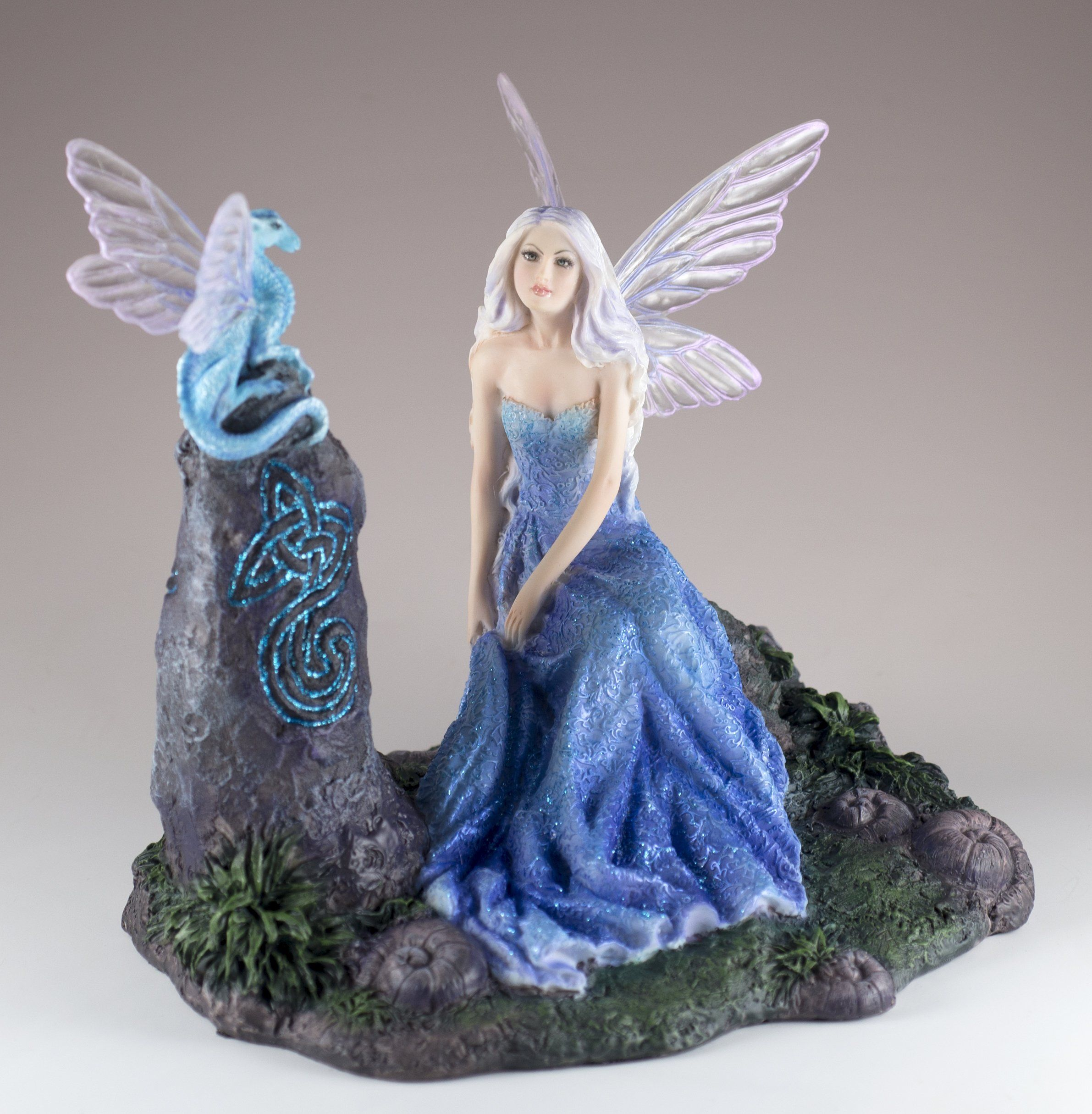 Fairy With Dragon Sitting On Rock Luminescent Figurine By Rachel