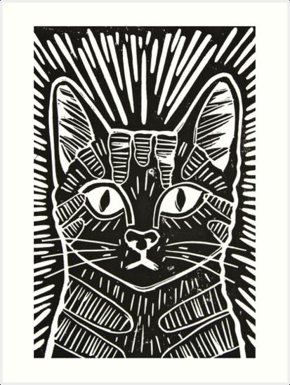 Cat Portrait Lino Print Art Print