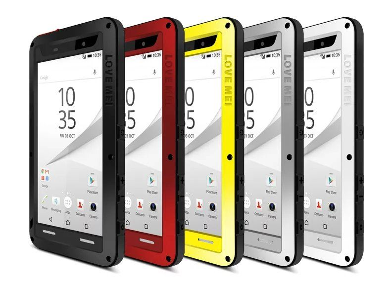 Extreme for Sony Xperia Z5 E6653 Shockproof Aluminum Case Dual Dropproof Dirtproof Metal Cover Gorilla Glass Shell
