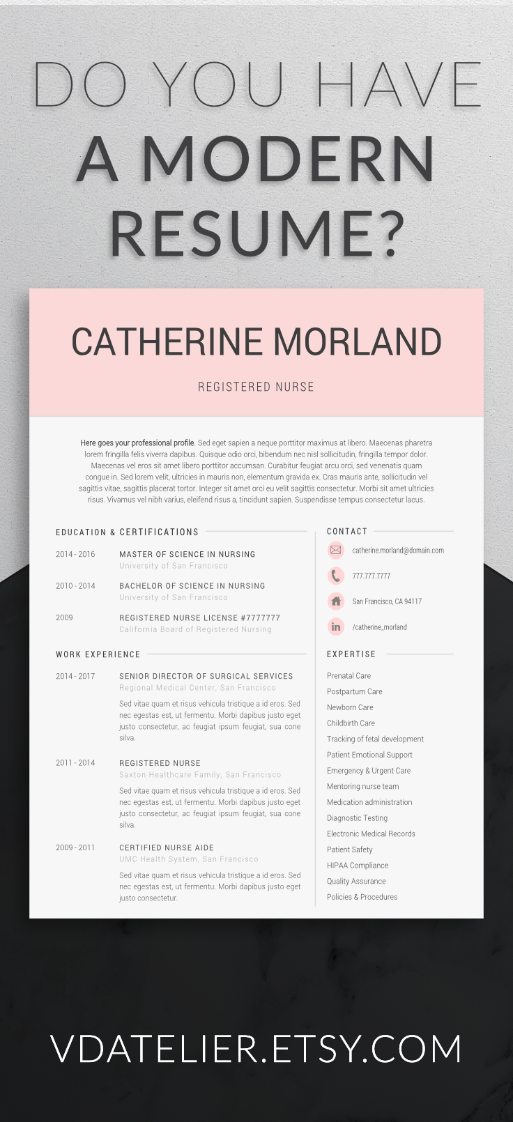 Professional Resume Template For Nurses, Doctors, And All Medical Staff.  Also Great As