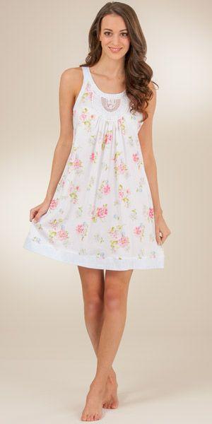 ef8d935415 Summer nightgown. Carole Hochman Racerback Cotton Knit Short Gown - Clear  Dawn