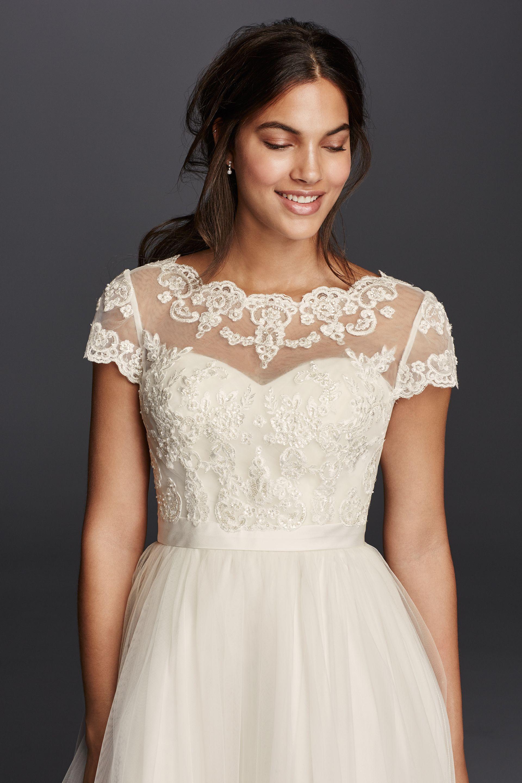Add lace trim to wedding dress