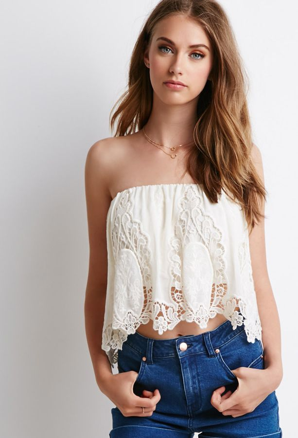 fb83e2b56f5b6c thefloralfedora: Crochet-Paneled Chiffon Top •... - Braless Fashion ...