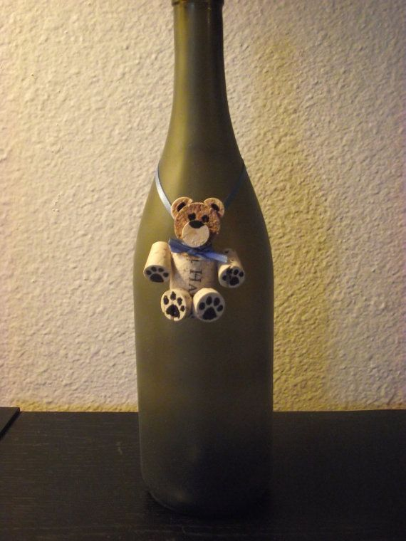 wine cork Bear/ bottle decoration by AvilaRoseGarden on Etsy