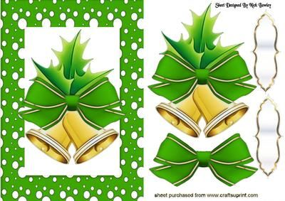 CHRISTMAS BELLS WITH HOLLY IN GREEN SNOW FRAME, Makes a pretty christmas card, Lots of other colours to see