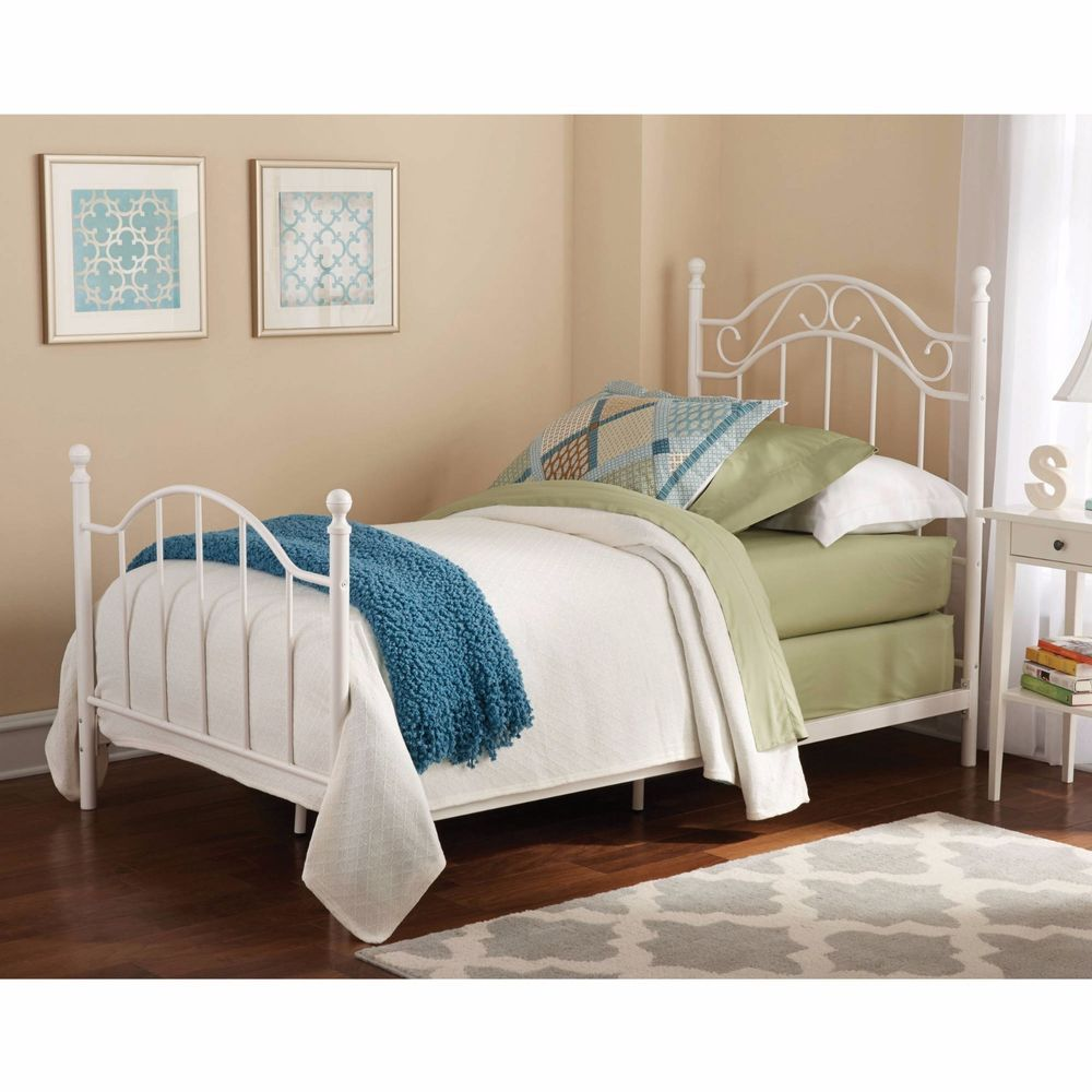 Metal Bed Frame Twin Kids Classic Headboard Bedroom Rails Children