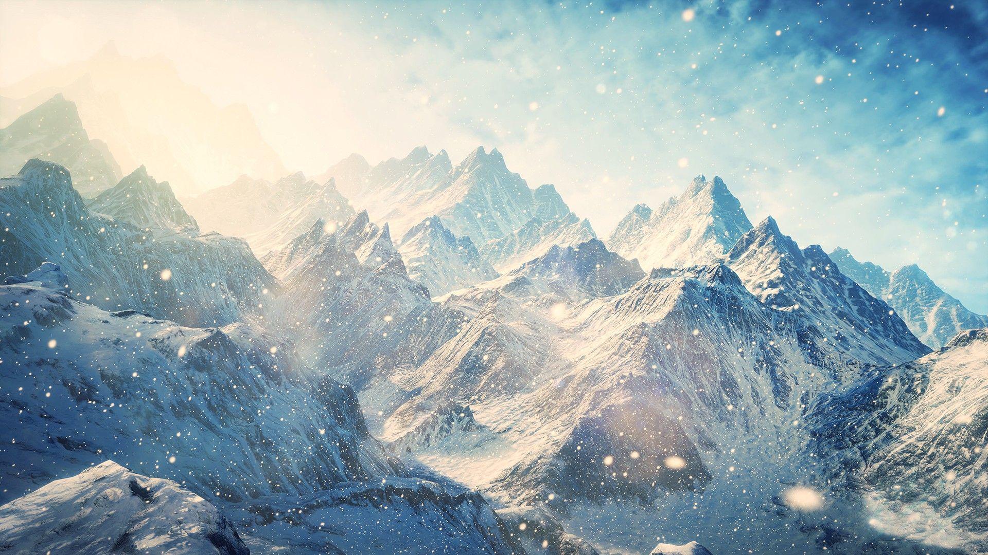 The Elder Scrolls V: Skyrim mountains landscapes winter snow