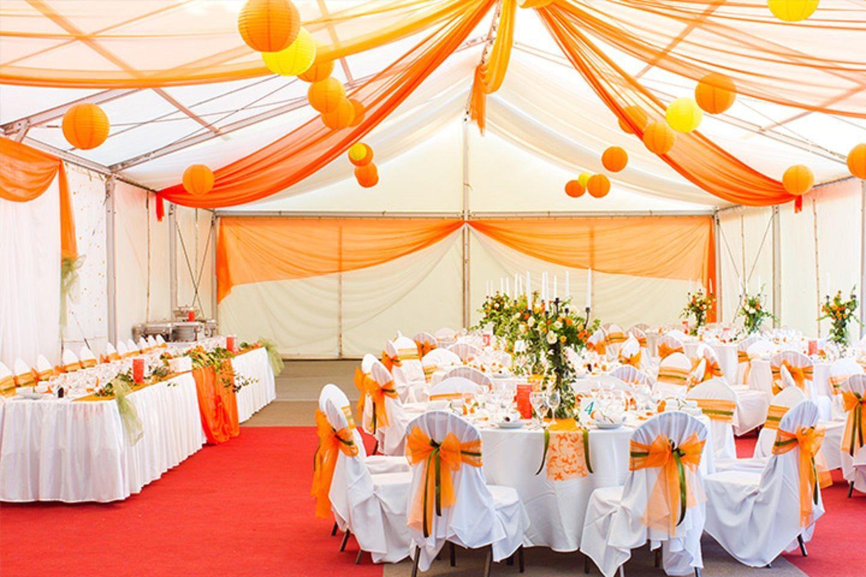 Fancy And Grand Fall Wedding Decorations Using Yellow Orange