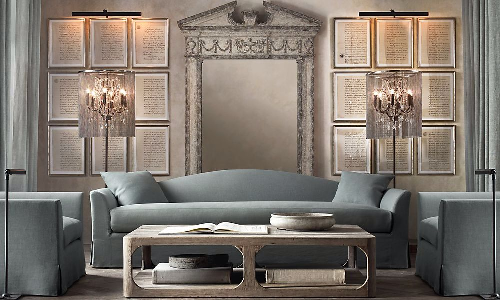 Restoration Hardware Belgian Camelback Slipcover Sofa