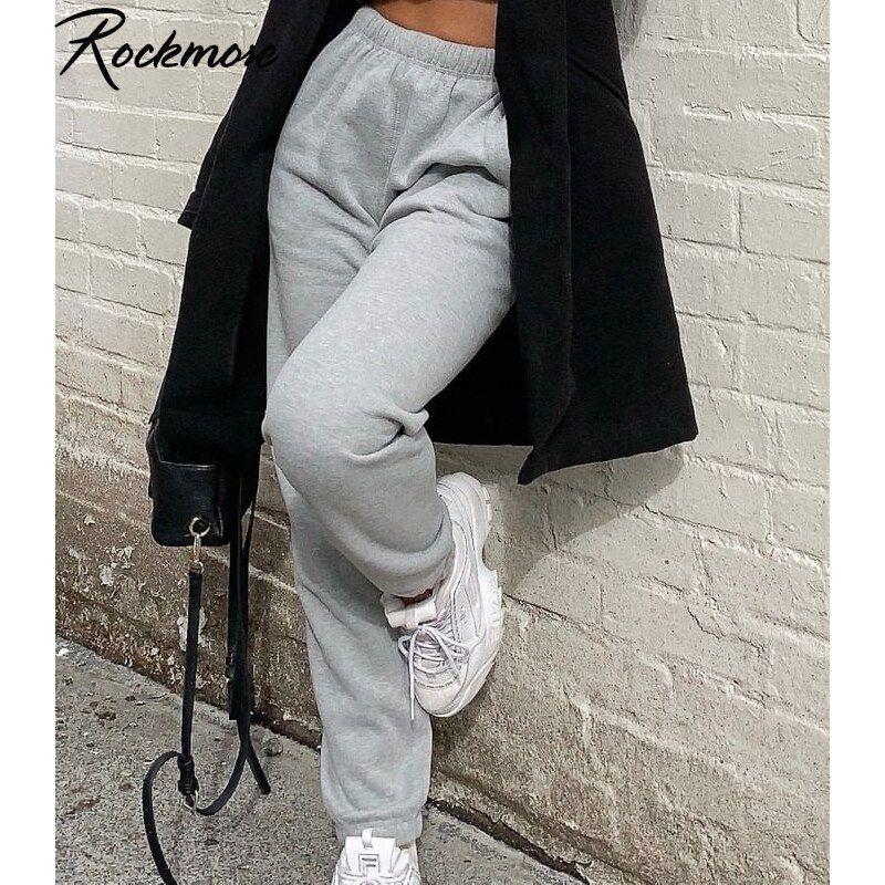Pantalones De Chandal Y Joggers Para Mujer Rockmore Pantalones De Calle Grises Pantalones Holgados De Cintura Alta De Verano Para Mujer Pantalones Blancos De Pantalones De Chandal Pantalones De Talle Alto