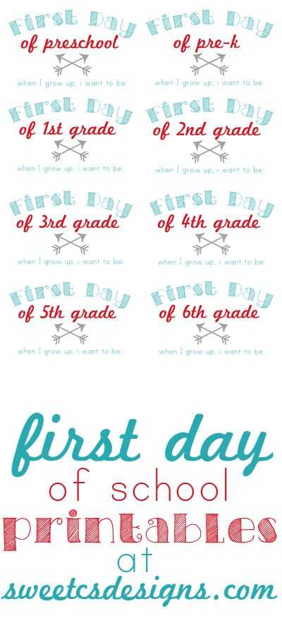 First day of school printables from @Courtney Baker Baker Baker O'Dell  - These are fun ways to document how your kids grow throughout their school years! Write in what they want to be when they grow up, and use as a photo.  Print on OnlineLabels.com full sheet card stock or adhesive labels