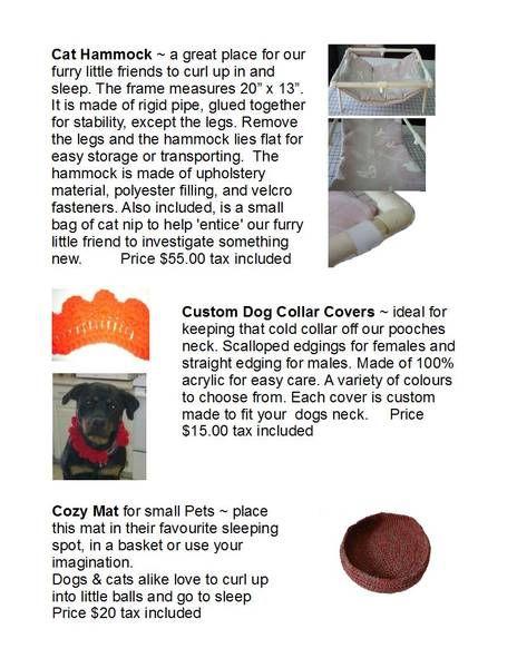Handmade Cat Hammock, Dog Collar Covers Cat hammock