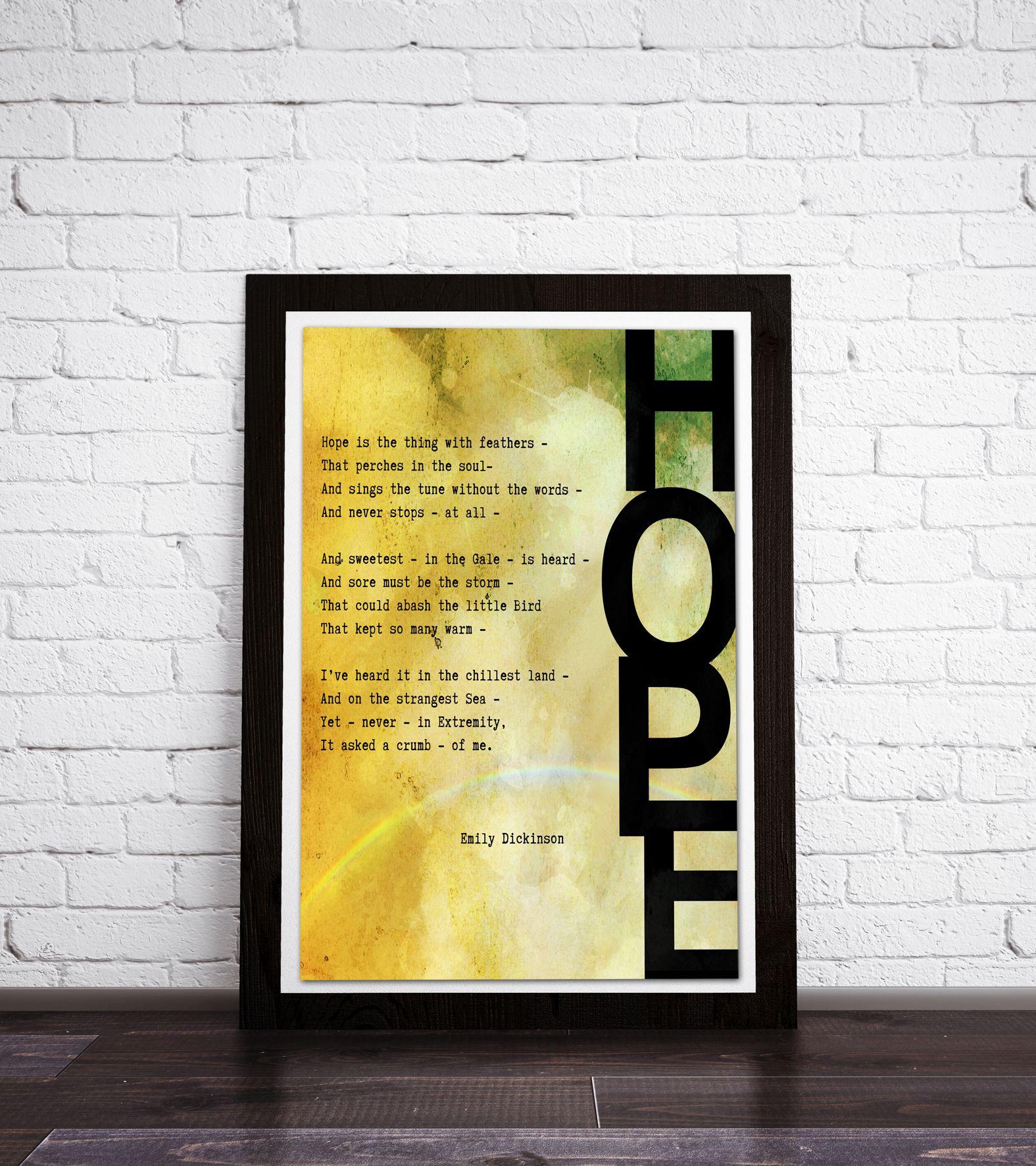 Hope Poem, Framed print, Emily Dickinson. Poem art, Typography Print ...