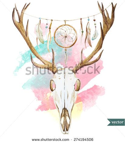 watercolor deer skull. Vector illustration in style ... Танец Живота Рисунок
