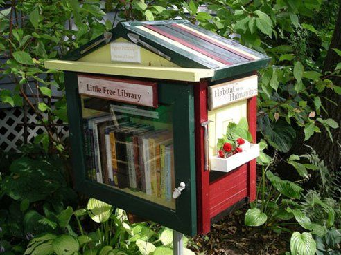 Little Free Libraries!  The creators envision a network of tiny community libraries.  You can make one for your front yard -- like a bird house for bibliophiles.