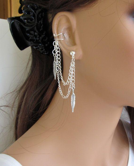 Silver Plated Wheel on Chain Earrings
