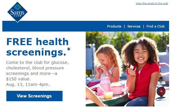 Sam's Club: FREE Health Screening Today!