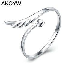 47b055a80992 Plateados plata del ángel alas moda anillo de la abertura modelos femeninos  lindo joyería vintage fabricantes