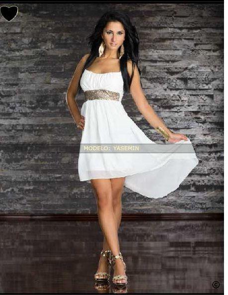 Vestido blanco corto con cinturon