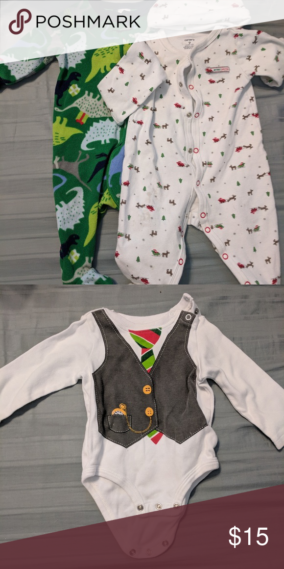 e96780aef Christmas 6-9 Month Bundle 2 sets of jammies and 1 onesie. Green ...