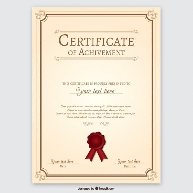 Certificate Of Achievement Free Vector  Certificate