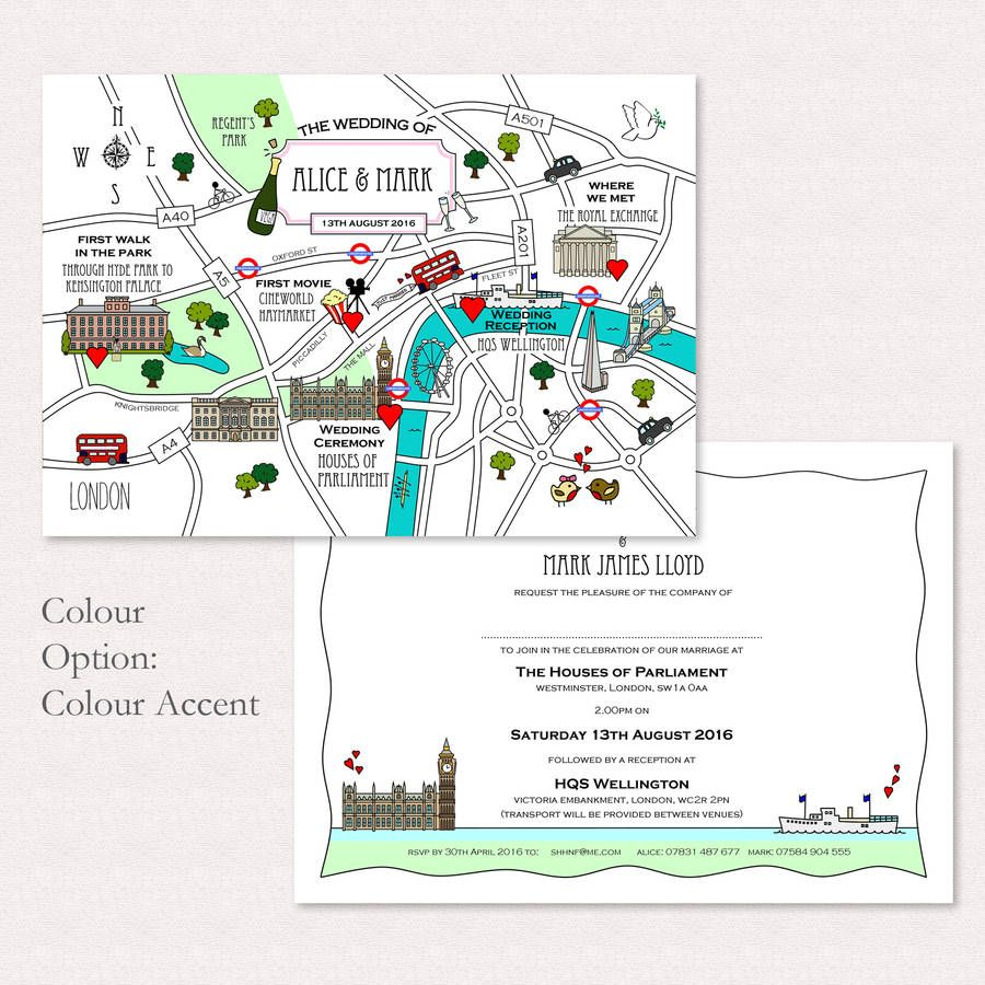 Wedding Or Party Illustrated Map Invitation Baby Shower Map