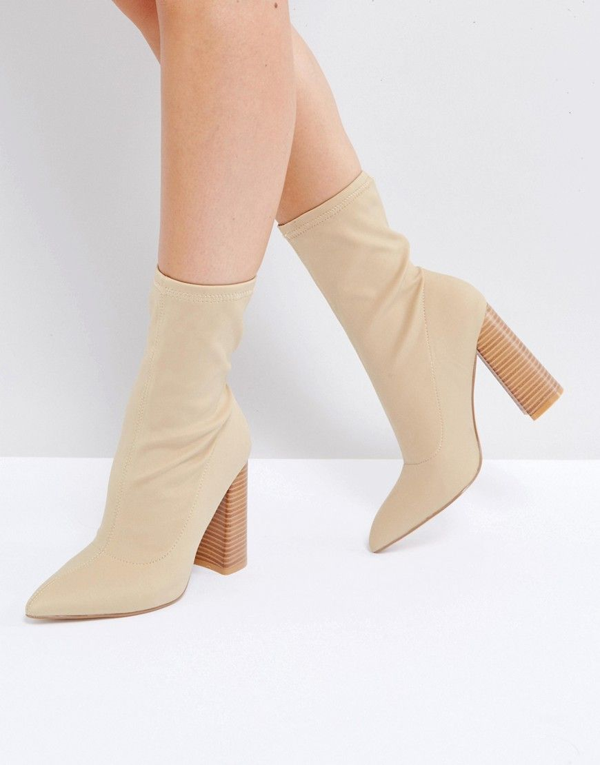 62c3cbff463 Public Desire Libby Nude High Heeled Sock Boots - Beige