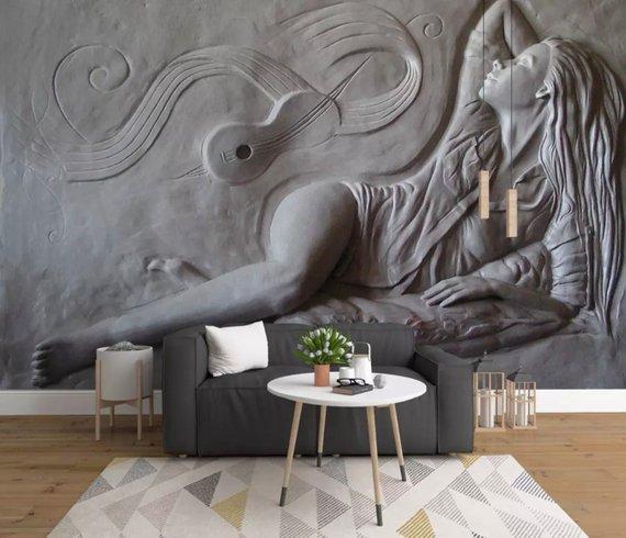 Sculpture Wallpaper 3d Embossed Artist Wall Mural Cement Woman