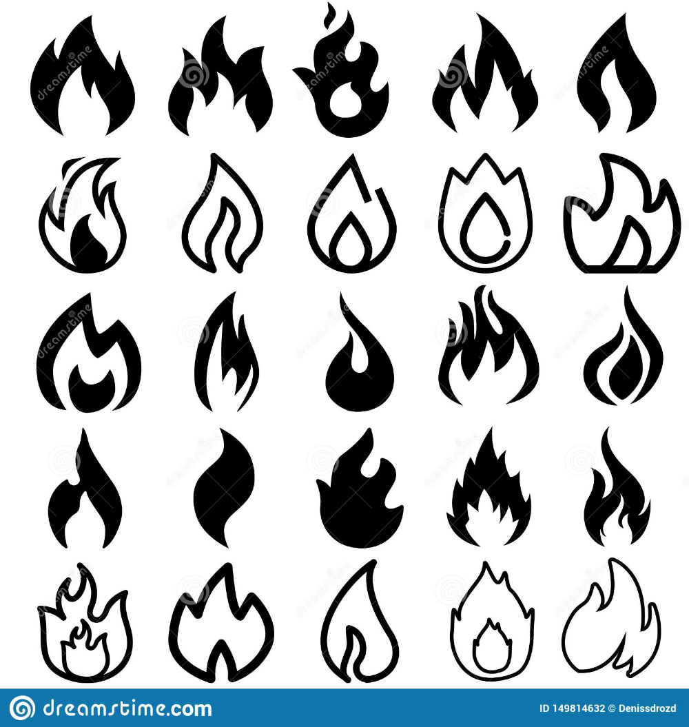 Fire Icons Burning Flame Silhouette Logos Simple Fire Symbols For Hot Sauce And Kitchen Grill Vector Fire Energy G Fire Icons Graphic Art Digital Art Prints