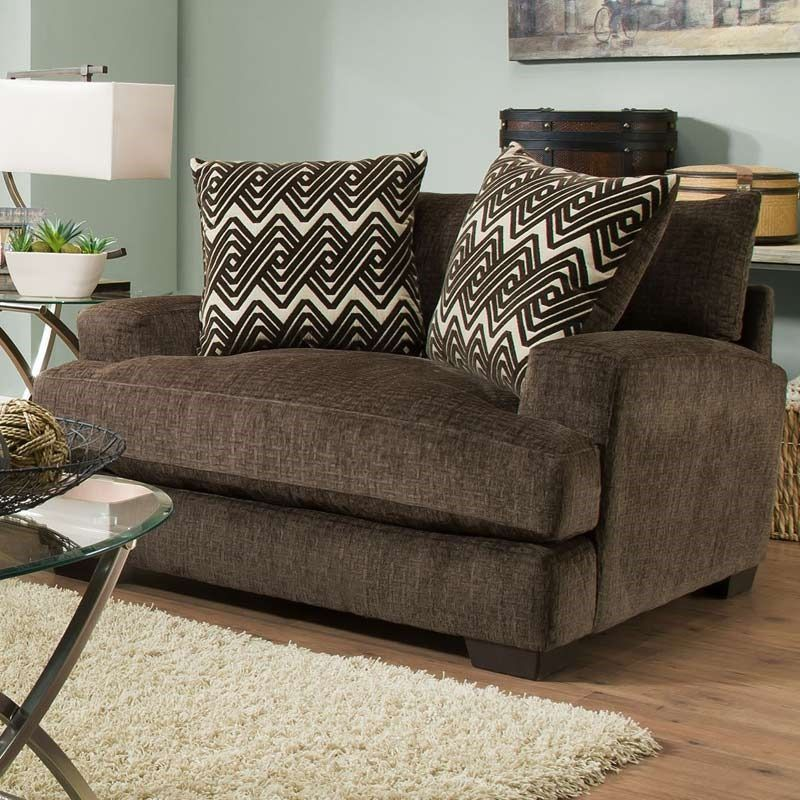 Best Ultimate Plush Chocolate Chenille Chair And Half Chair 400 x 300