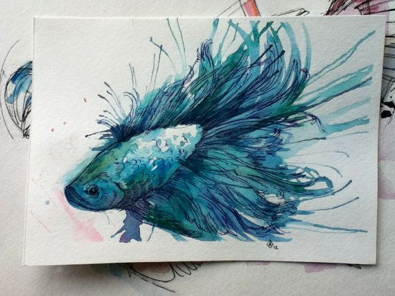 Turquoise betta 5x7 original by finchfight on etsy for Betta fish painting