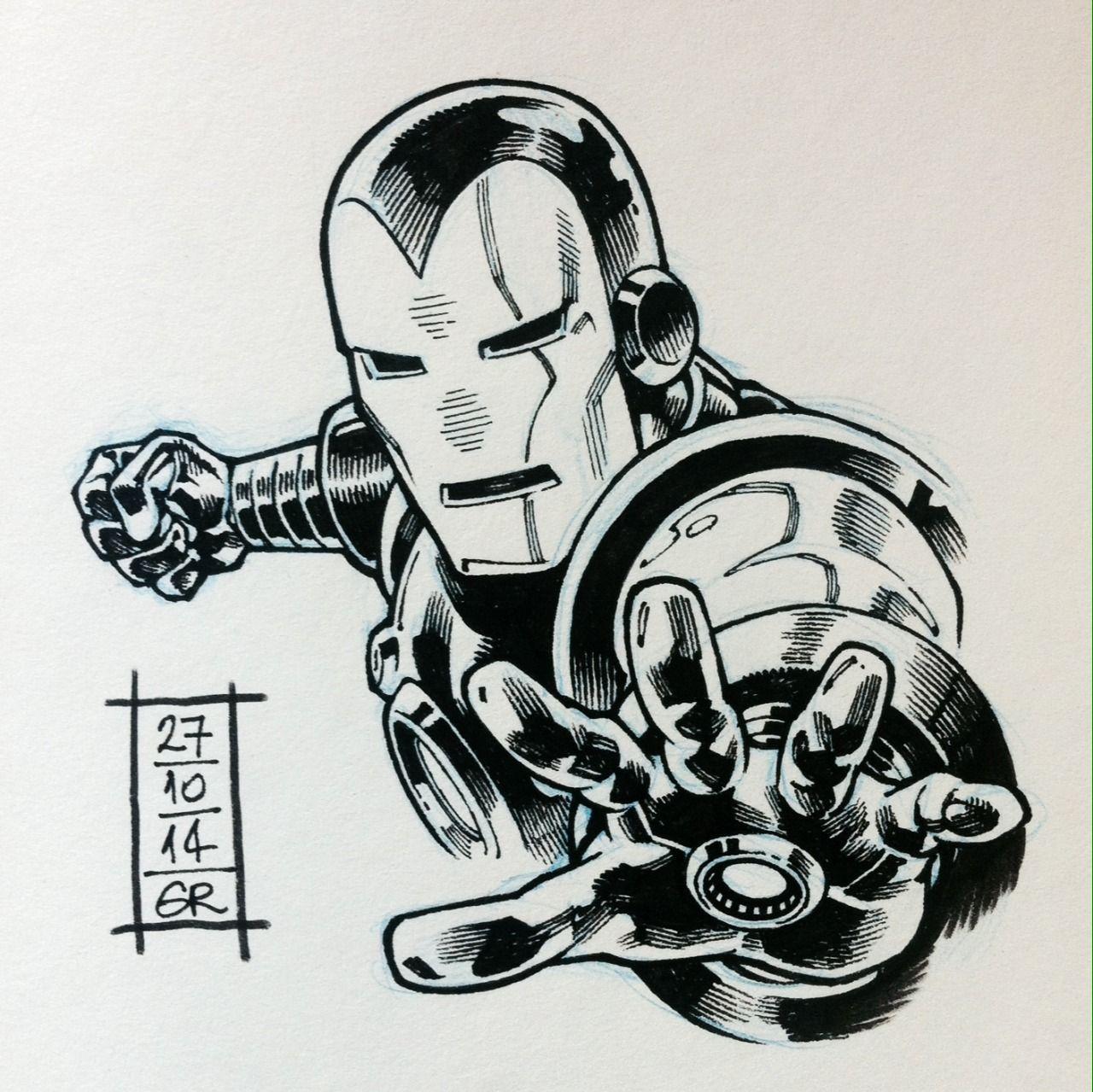 #Inktober batch 5: Iron Man (70's), Swamp Thing, Felix The Cat, Black Bolt and Dodge