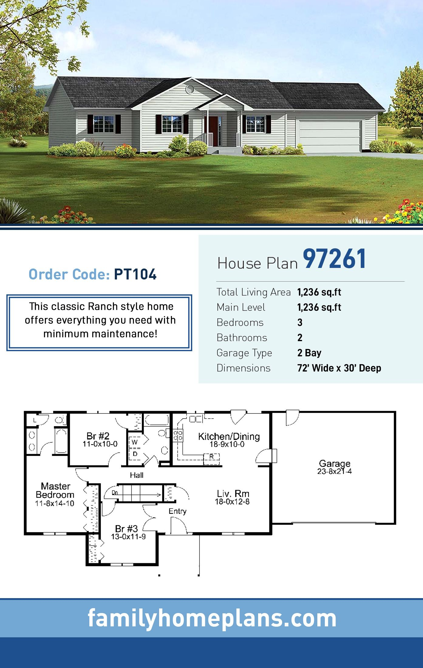 Traditional Style House Plan 97261 With 3 Bed 2 Bath 2 Car Garage Country Style House Plans House Plans Free House Plans