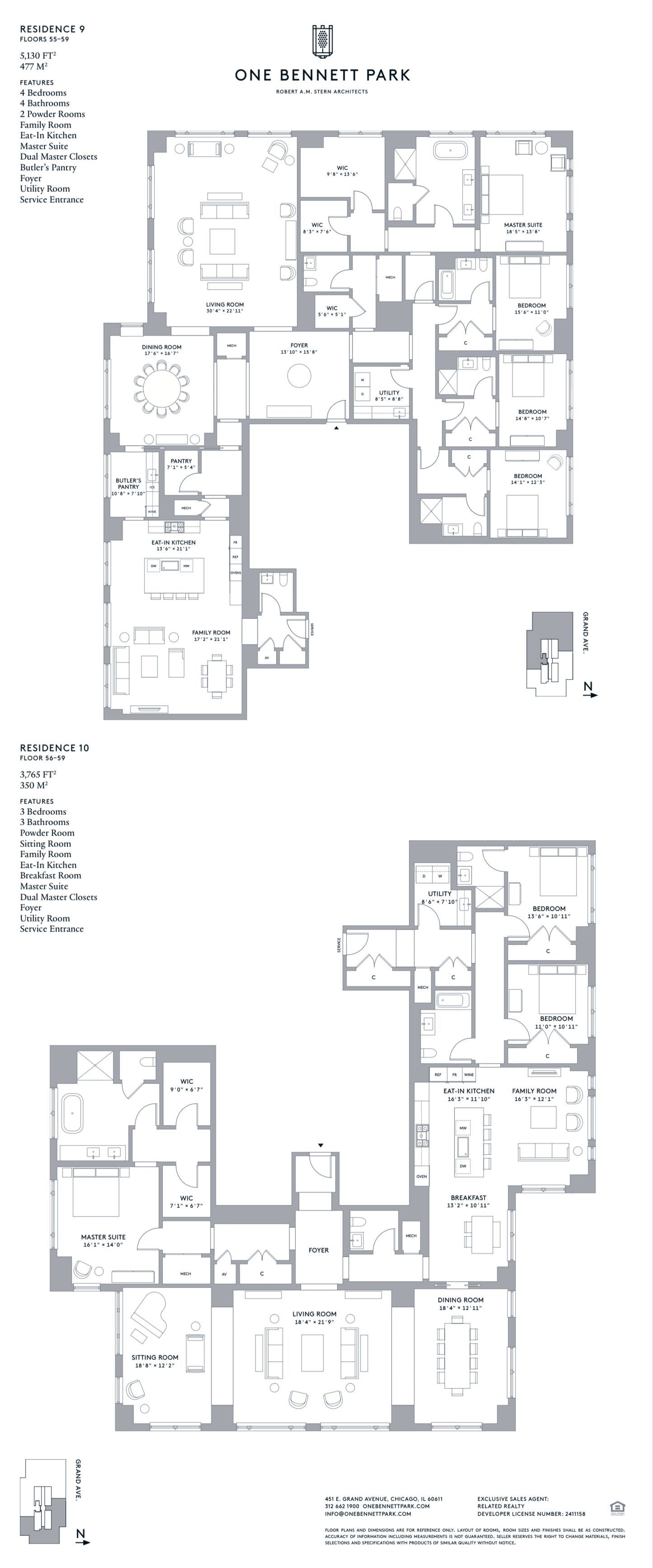 One Bennett Park In Streeterville Chicago Residences 9 10 Apartment Floor Plans House Floor Plans House Layouts