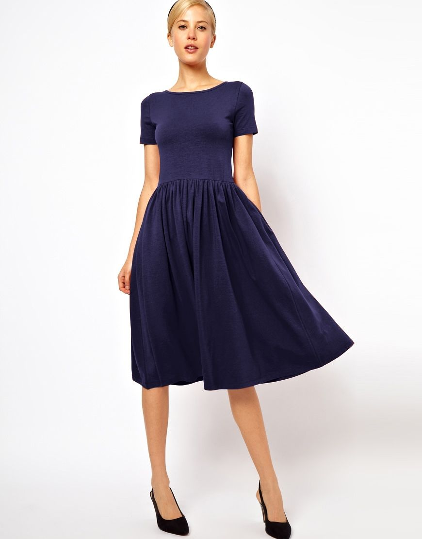 Image 1 of ASOS Midi Skater Dress With Short Sleeves | Dresses ...