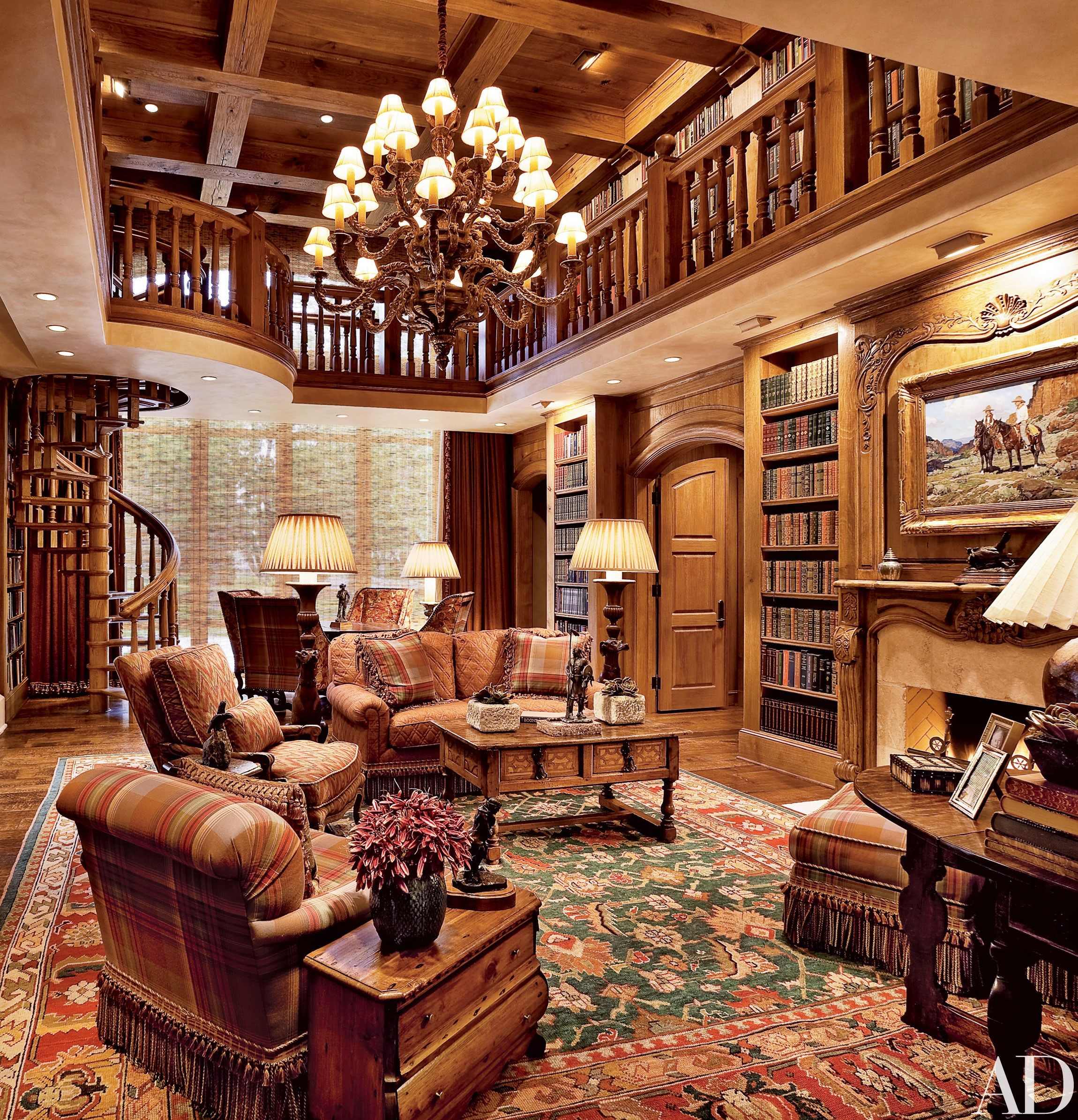 Ranch For Sale In Dallas Tx >> T. Boone Pickens's Mesa Vista Ranch in Texas | Home library design, Home library rooms, Home ...