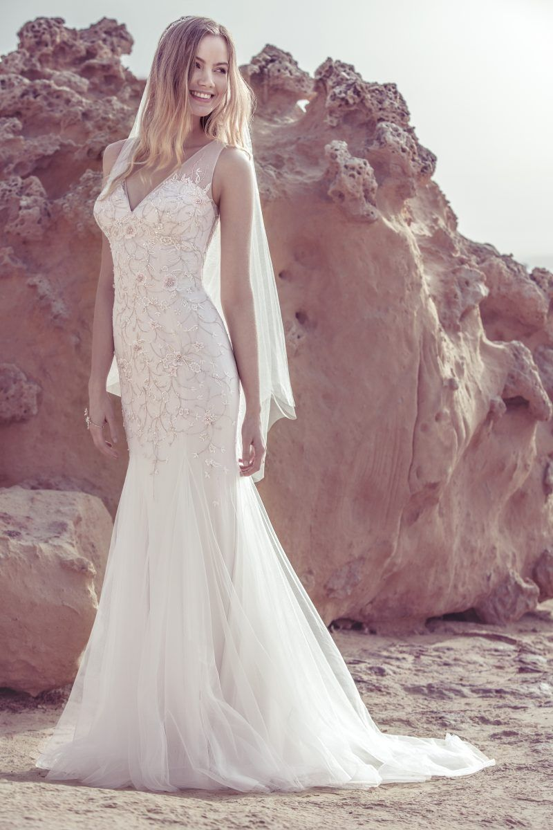 Embroidered Tulle Dress Style 12254 Beach Bridal Dresses Colored Wedding Gowns