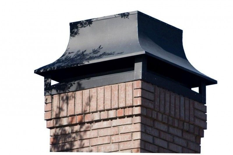 This chimney cap is made for prefabricated fireplaces with metal flues. Description from mastersservices.com. I searched for this on bing.com/images