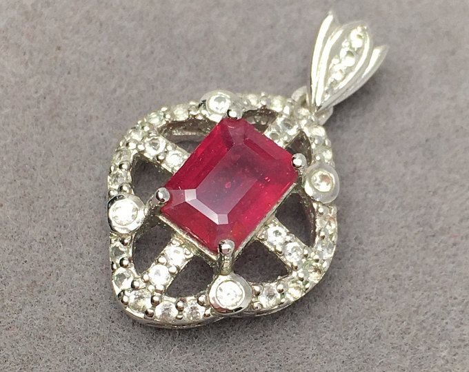 Photo of Vintage Ruby Flower Pendant~ Ruby Flower Charm~ Gemstone ~Flower Connector~ Ruby Flower~Vintage Pendant ~Sterling Silver~July Birthstone