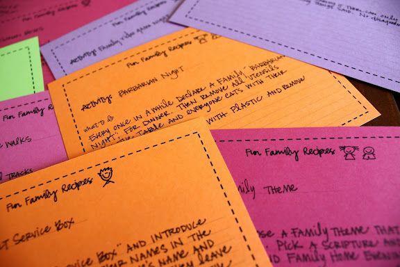Fun Family Activity Recipe Cards...  Great idea!