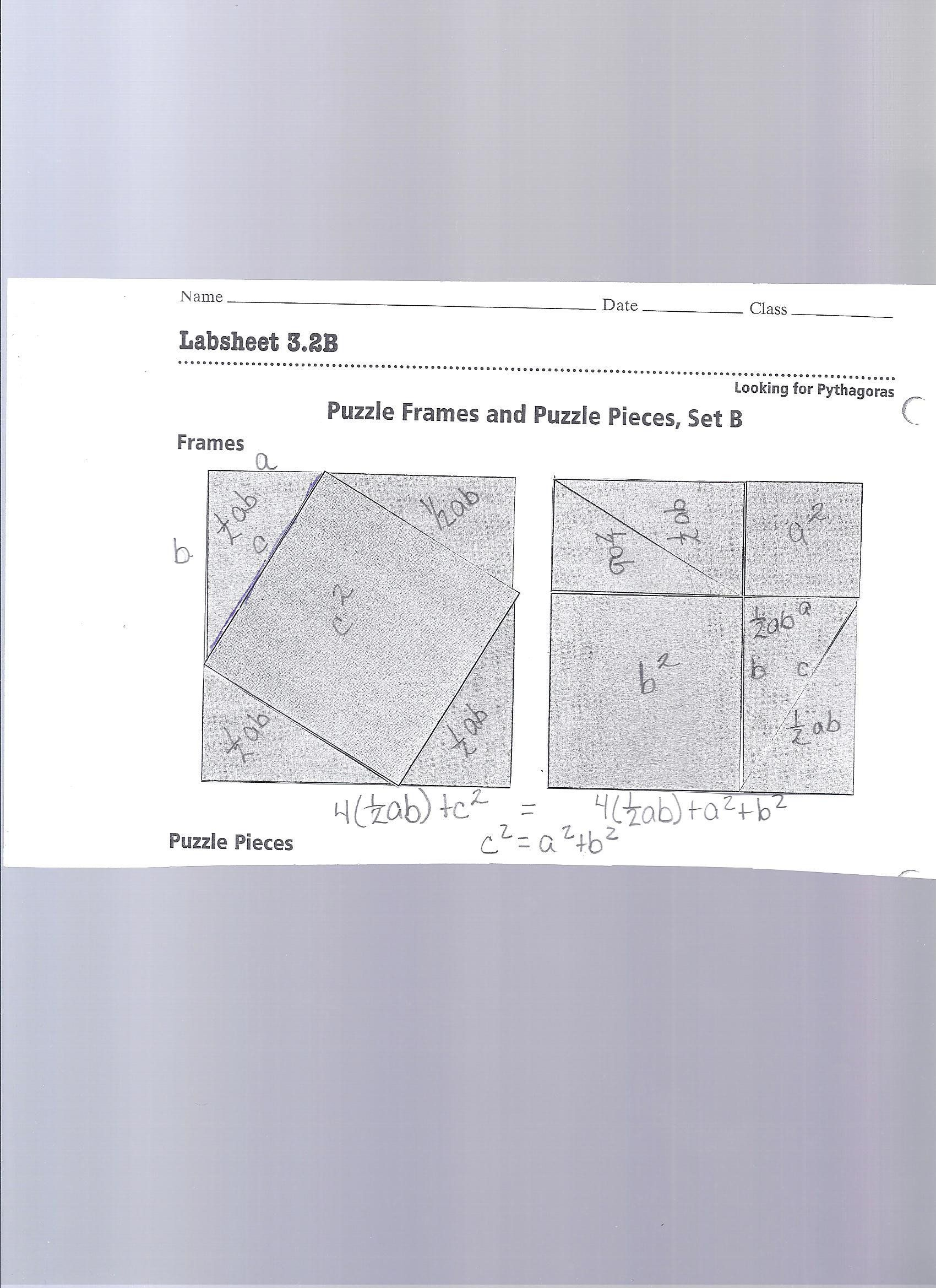 Pythagorean theorem Puzzles Worksheet Activity 20 Proof Of