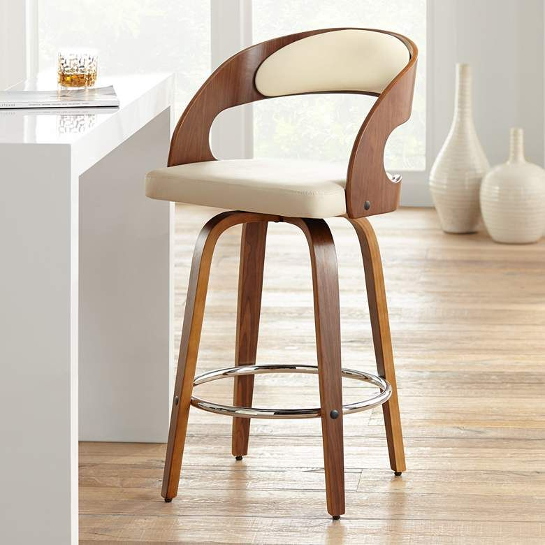 Shelly 25 3 4 Cream Faux Leather Swivel Counter Stool 1j154