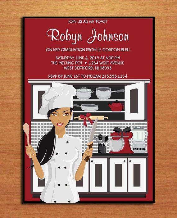 culinary graduation invitation pastry chef graduation invite