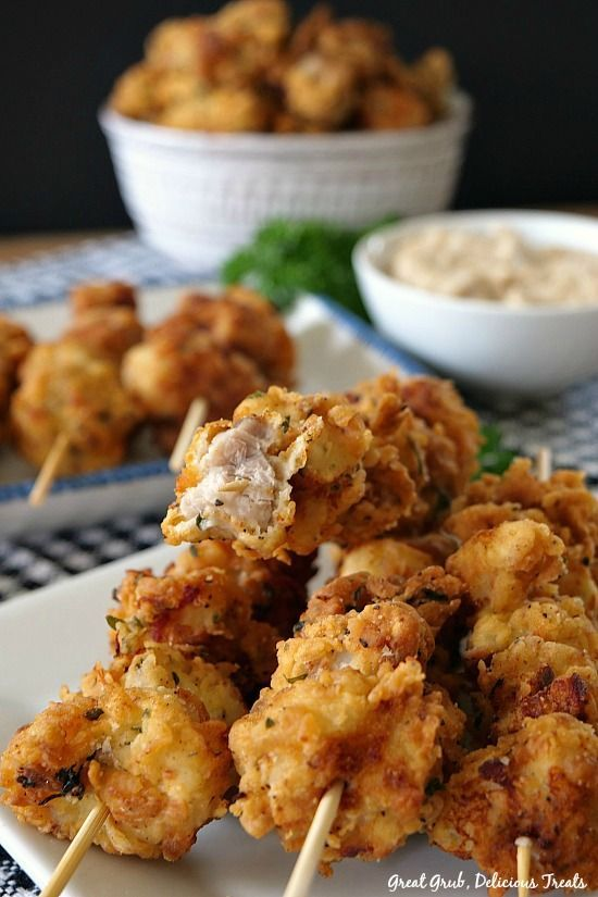These Chicken Fried Pork Nuggets are a delicious appetizer especially served with a side of homemade country gravy.